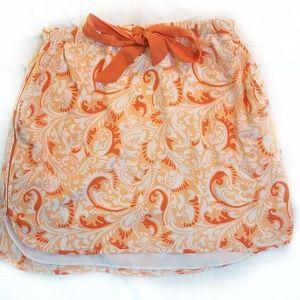 Club Monaco Coral Silk Drawstring Skirt 2 pockets